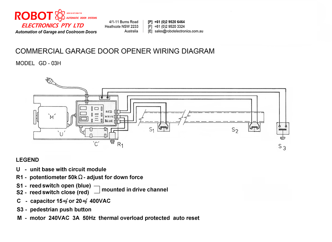 Commercial Garage Door Opener Wiring Diagram - Wiring Schematics on