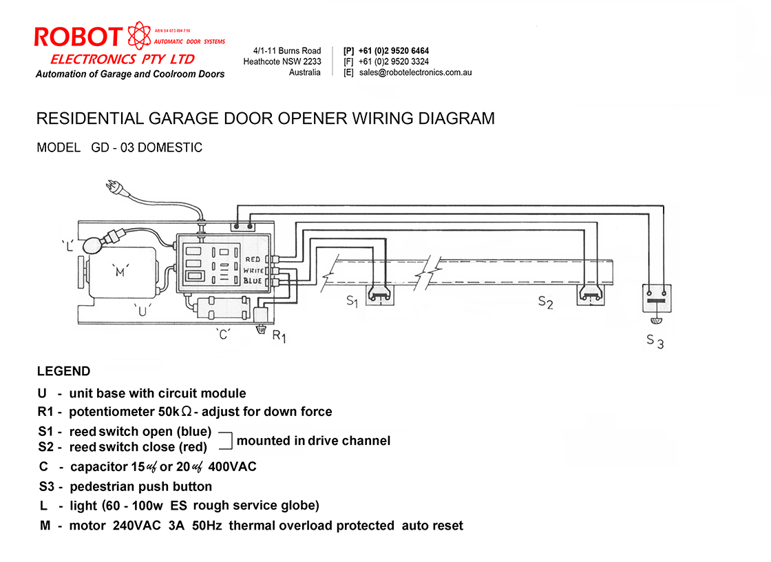 Residential Garage Wiring Diagram Library Chamberlain Door Additionally Opener Model Gd 03 Domestic Robot Electronics